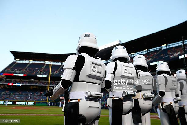 Storm trooper characters from the 501st Legion stand on the field prior to the game between the Atlanta Braves and the New York Mets at Turner Field...