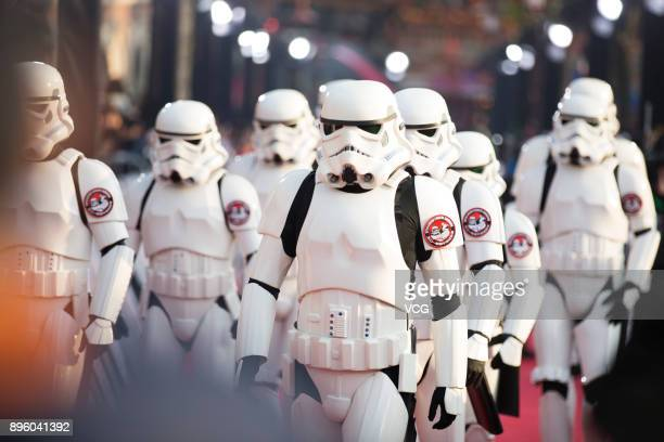 Storm troopers arrive at the premiere of film 'Star Wars The Last Jedi' at Shanghai Disney Resort on December 20 2017 in Shanghai China