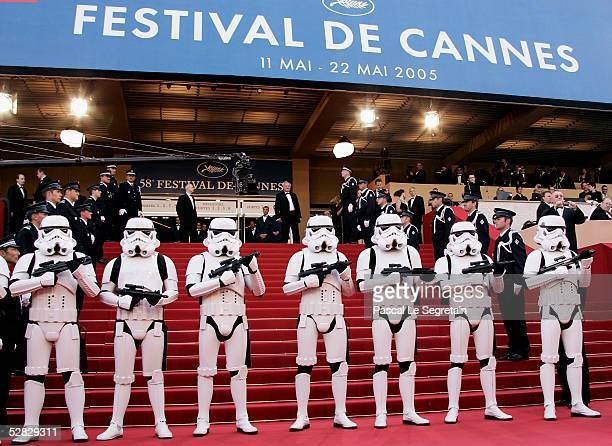 Storm Troopers attend a screening of ' Star War III Revenge of the Sith' at the Grand Theatre during the 58th International Cannes Film Festival May...