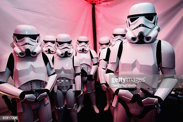 Storm troopers from the Golden Gate garrison of the 501st International Legion attend the after party of the San Francisco World Premiere of Star...
