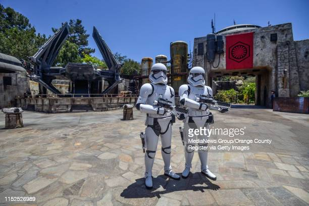 Storm Troopers guard an TIE Echillion fighter in Star Wars: Galaxy's Edge at Disneyland in Anaheim, CA, on Wednesday, May 29, 2019.
