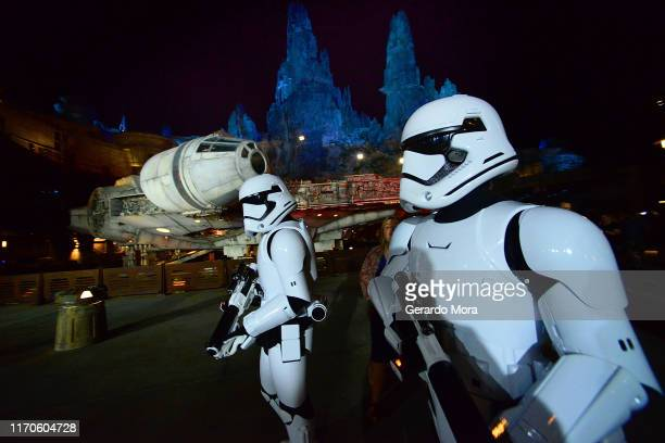 Storm Troopers on guard at the Star Wars: Galaxy's Edge Walt Disney World Resort Opening at Disney's Hollywood Studios on August 27, 2019 in Orlando,...