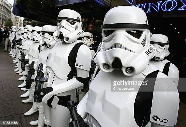 Storm Troopers parade outside the Empire cinema to celebrate the London premiere of the final part of the Star Wars series and the first ever...