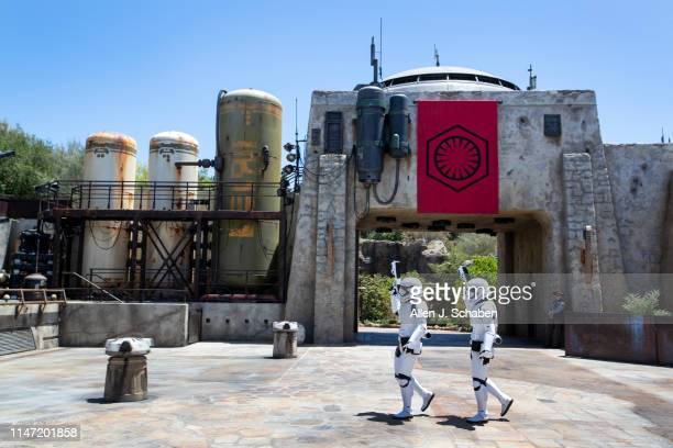 Storm Troopers patrol The First Order Outpost where the Tie Echelon fighter ship is parked as media members get a preview during the Star Wars:...