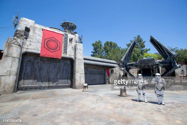 ANAHEIM CALIF WEDNESDAY MAY 29 2019 Storm Troopers patrol The First Order Outpost where the Tie Echelon fighter ship is parked as media members get a...