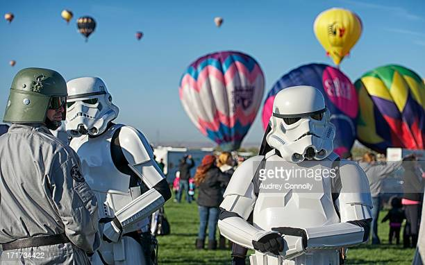 CONTENT] Storm Troopers with several hot air balloons in the background at the Albuquerque International Hot Air Balloon Fiesta Albuquerque New Mexico