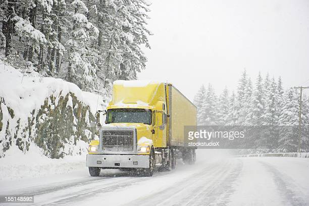storm trucker - driving in snow stock photos and pictures
