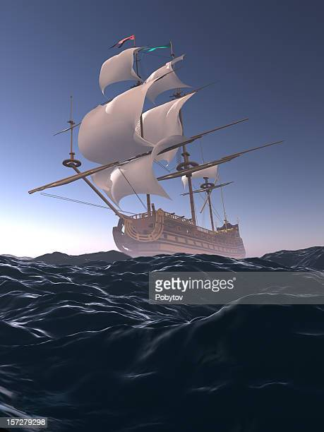 storm warning - galleon stock photos and pictures