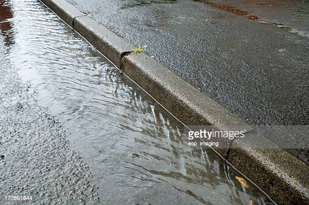 Storm water in gutter