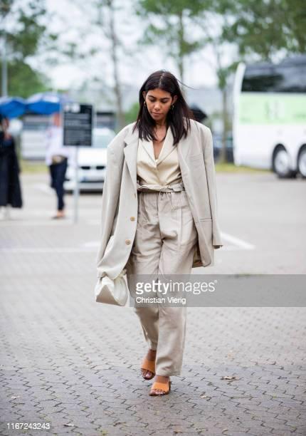 Storm Westphal is seen wearing pants, blazer outside Munthe during Copenhagen Fashion Week Spring/Summer 2020 on August 07, 2019 in Copenhagen,...