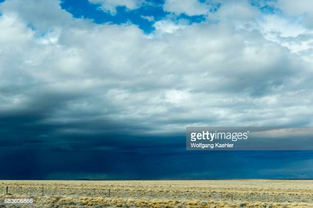 A storm with dark clouds over the pampa in Patagonia near El Calafate Argentina