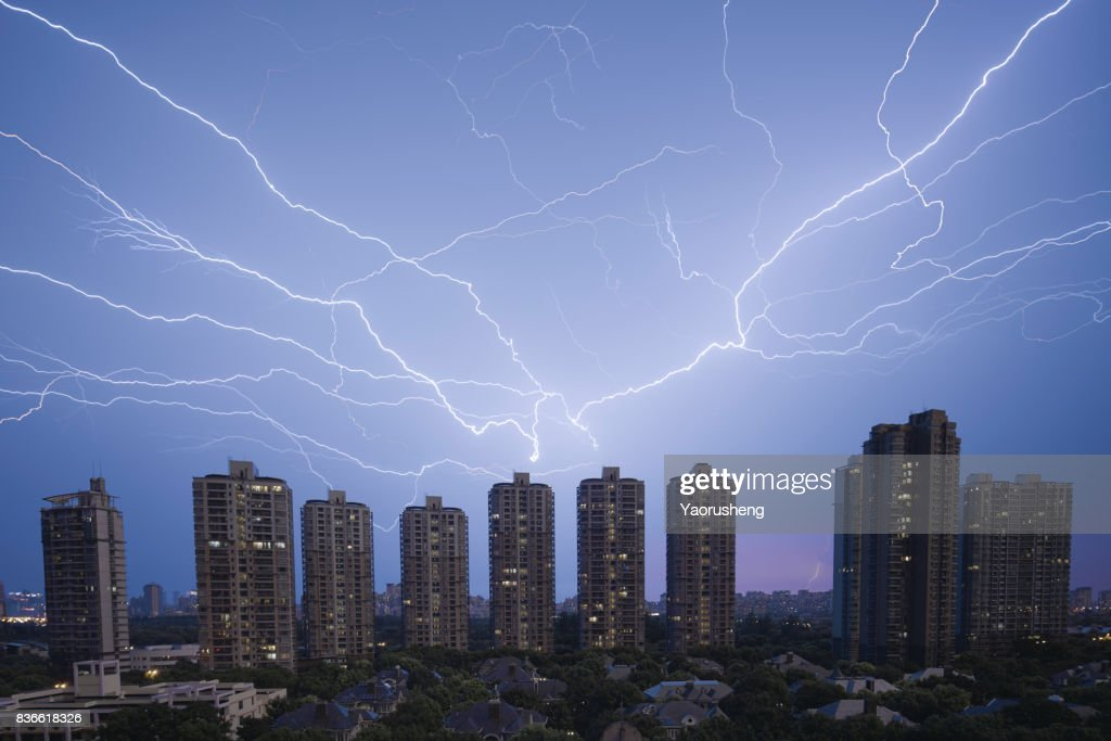 Storm with lightening in the night Shanghai city,China : Stock Photo