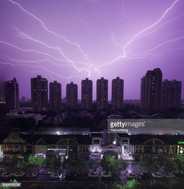 Storm with lightening in the night Shanghai city,China