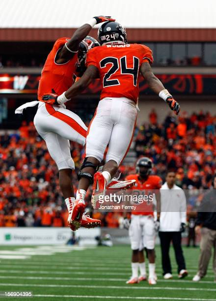 Storm Woods of the Oregon State Beavers celebrates a touchdown run with Brandin Cooks against the Oregon Ducks during the 116th Civil War on November...