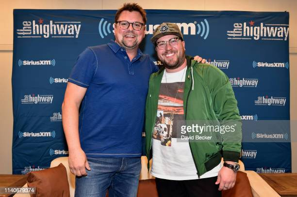 Storme Warren and Mitchell Tenpenny attend the SiriusXM's The Highway broadcast backstage from the Academy of Country Music Awards at MGM Grand...