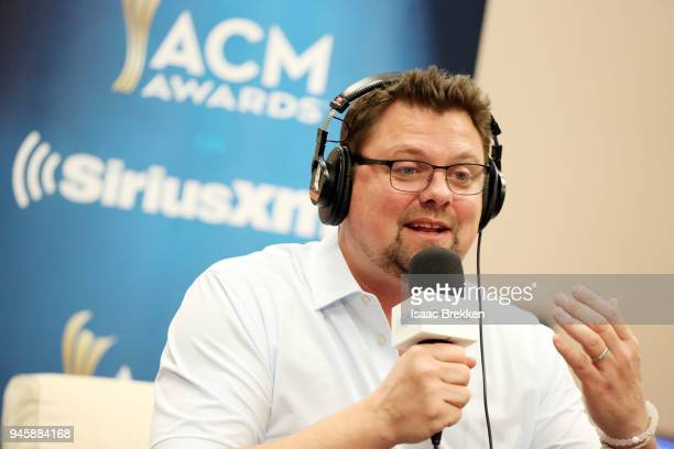 Storme Warren conducts and interview during SiriusXM's The Highway channel broadcast backstage from the Academy of Country Music Awards on April 13...