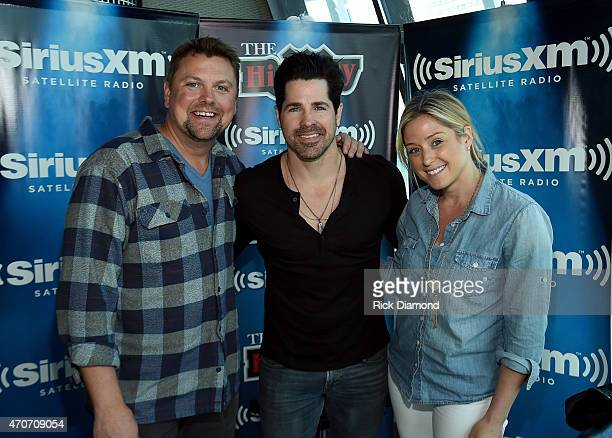 Storme Warren JT Hodges and Storme show producer Brittany Davidson attend Singer/Songwriter JT Hodges visit to Mornings with Storme Warren on The...