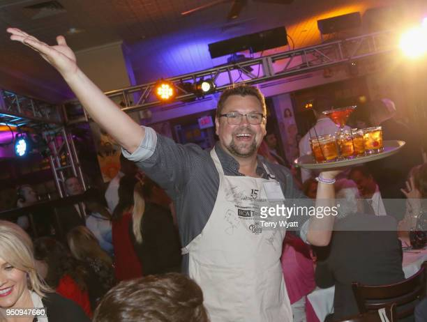 Storme Warren waits tables during the 17th annual Waiting for Wishes celebrity dinner at The Palm on April 24 2018 in Nashville Tennessee