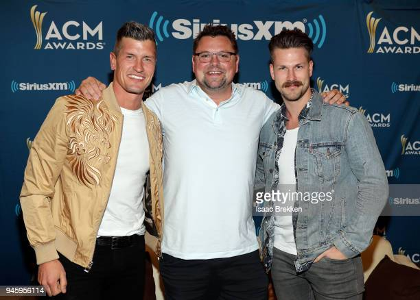 Storme Warren with Curtis Rempel and Brad Rempel of the band High Valley attend SiriusXM's The Highway channel broadcast backstage from the Academy...