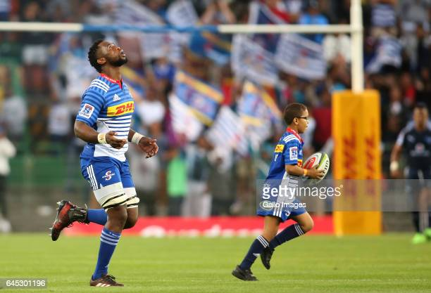 Stormers captain Siya Kolisi leads his players out for the first time as captain during the Super Rugby match between DHL Stormers and Vodacom Bulls...