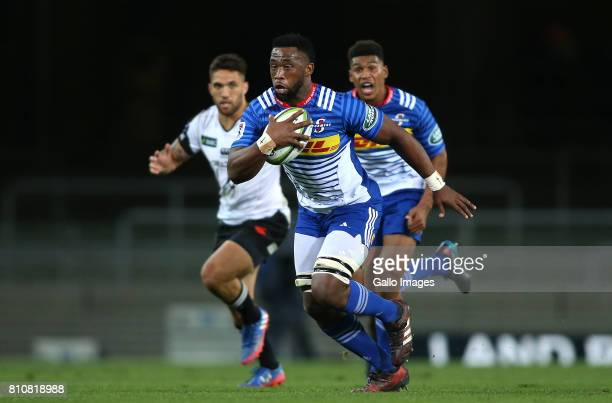 Stormers captain Siya Kolisi on the attack during the Super Rugby match between DHL Stormers and Sunwolves at DHL Newlands on July 08 2017 in Cape...