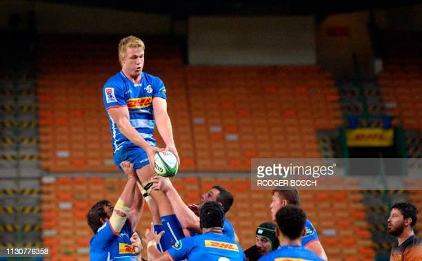 Stormers' Pieter Steph Du Toit catches the ball in a line out during the Super Rugby rugby union match between South Africa's Stormers and...