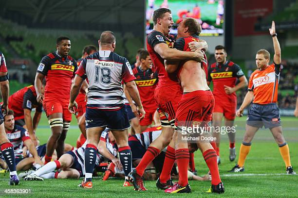 Stormers players celebrate the win during the round 15 Super Rugby match between the Rebels and the Stormers at AAMI Park on July 2 2016 in Melbourne...
