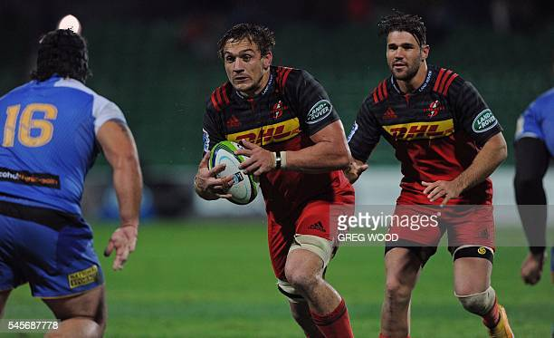 Stormers Rynhardt Elstadt runs towards Anaru Rangi from Western Force during the Super Rugby match between Australias Western Force and South Africas...