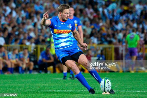 Stormers' SP Marais kicks the ball during the Super Rugby rugby union match between South Africa's Stormers and Argentina's Jaguares at Newlands...