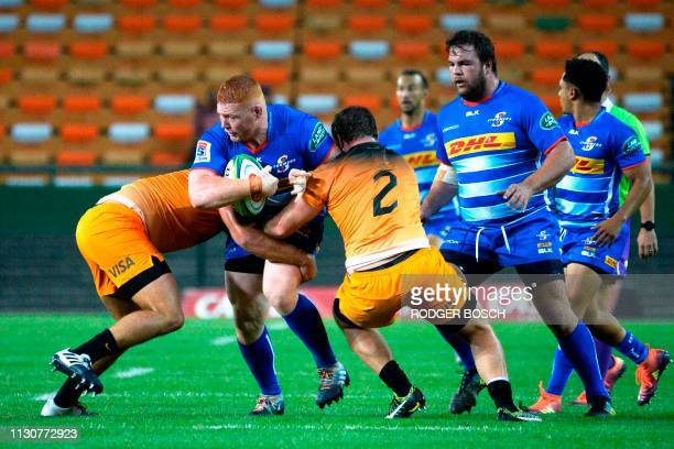 Stormers' Steven Kitsoff is tackled during the Super Rugby rugby union match between South Africa's Stormers and Argentina's Jaguares at Newlands...