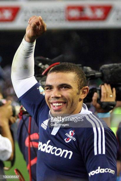Stormers wing Bryan Habana celebrates during the Super 14 semifinal match between Vodacom Stormers and Waratahs at Newlands Stadium on May 22 2010 in...