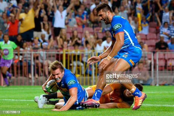 Stormers's Dan du Plessis scores a try during the Super Rugby rugby union match between South Africa's Stormers and Argentina's Jaguares at Newlands...