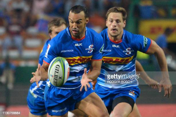 Stormers's Dylan Leyds runs with the ball during the Super Rugby rugby union match between South Africa's Stormers and Argentina's Jaguares at...