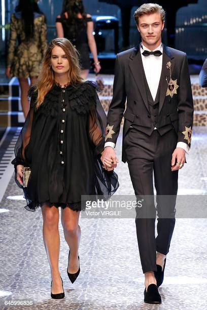 Stormi Bree and Lucky Blue Smith walk the runway at the Dolce Gabbana Ready to Wear fashion show during Milan Fashion Week Fall/Winter 2017/18 on...