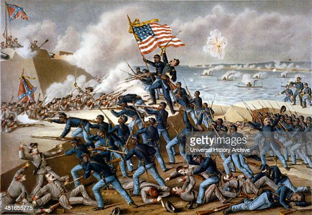 Storming Fort Wagner an illustration by Kurz Allison dated 1890 chromolithograph showing Union soldiers storming the walls of Fort Wagner on Morris...