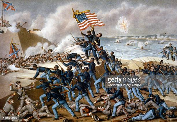 Storming Fort Wagner Union soldiers storm the walls of Fort Wagner on Morris Island South Carolina and engage with some Confederate soldiers in...