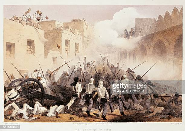 Storming of Delhi Sepoy uprising against British rule known as Indian Mutiny print United Kingdom 19th century London British Library