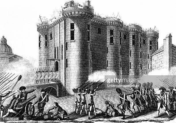 Storming of the Bastille by Parisians led by the Grenadier Guards 14 July 1789 Engraving 1804