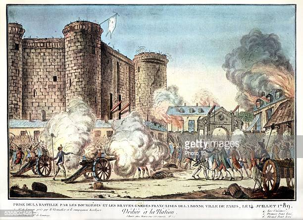 Storming of the Bastille Colored engraving of the time July 14 1789