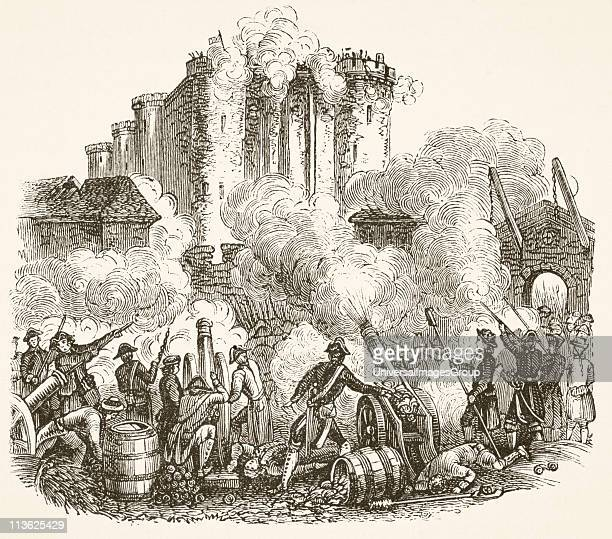 Storming of the Bastille in Paris 14 July 1789 during French Revolution From The National and Domestic History of England by William Aubrey published...