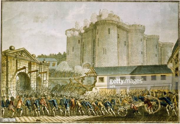 Storming of the Bastille Paris during the French Revolution by a mob helped by Royal troops