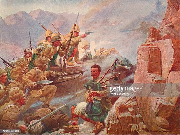 Storming of the Dargai Heights by the 1st Gordon Highlanders and the Gurkhas 1897 Figthing between British troops and Afridi tribesmen on the...