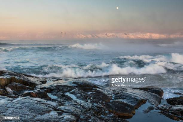 Storming sea in a strong frost