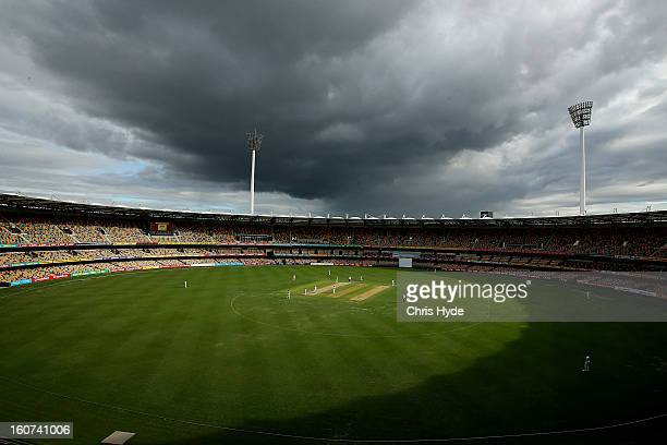Storms aproach the ground during day two of the Sheffield Shield match between the Queensland Bulls and the Western Australia Warriors at The Gabba...