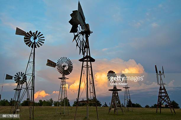 Storms behind a windmill park in Shattuck, Oklahoma, USA
