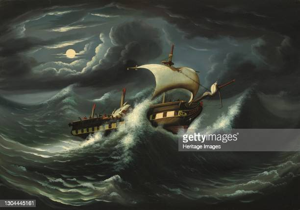 Storm-Tossed Frigate, mid 19th century. Artist Thomas Chambers.