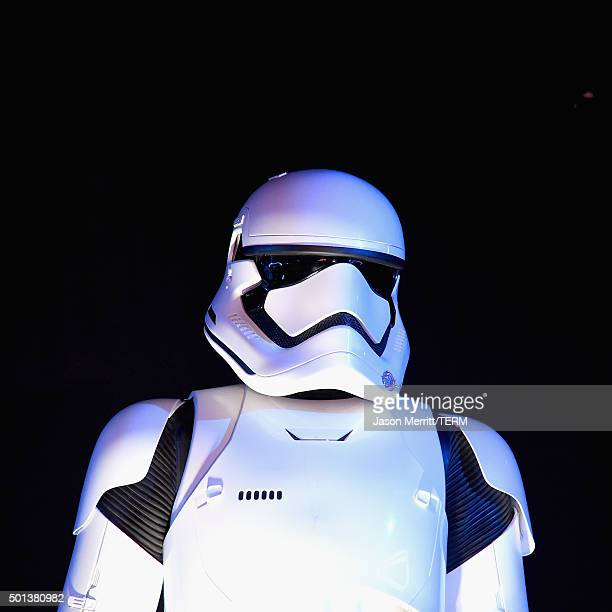 Stormtrooper attends The Premiere of Walt Disney Pictures and Lucasfilm's Star Wars The Force Awakens on December 14 2015 in Hollywood California