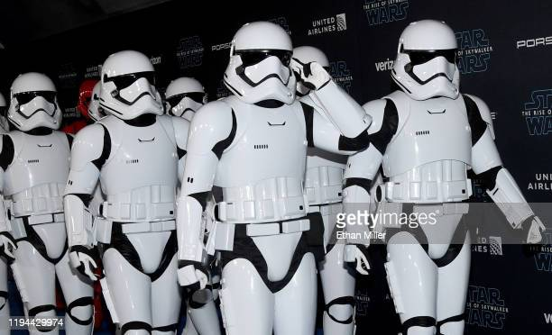 Stormtrooper characters arrive at the premiere of Disney's Star Wars The Rise of Skywalker on December 16 2019 in Hollywood California