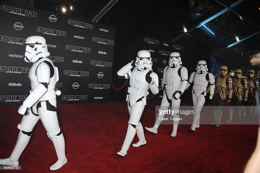 Stormtrooper characters march down red Carpet at the premiere of Walt Disney Pictures and Lucasfilm's 'Rogue One: A Star Wars Story' at the Pantages Theatre on December 10, 2016 in Hollywood, California.