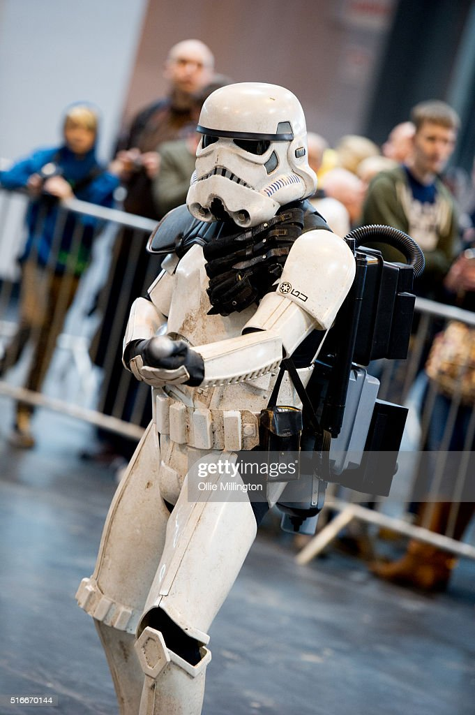 A Stormtrooper providing security on the 2nd day of Comic Con 2016 on March 20, 2016 in Birmingham, United Kingdom.